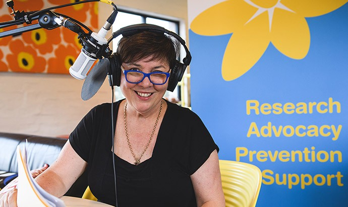 Julie McCrossin, podcast host at the microphone